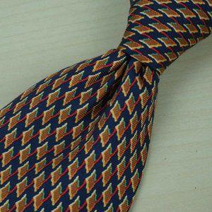 Stefano Ricci Tangerine Navy Jagged Geometric tie